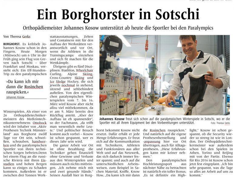 Johannes Kosow in Sochi - Pressebericht aus den Steinfurter Nachrichten 2. Teil