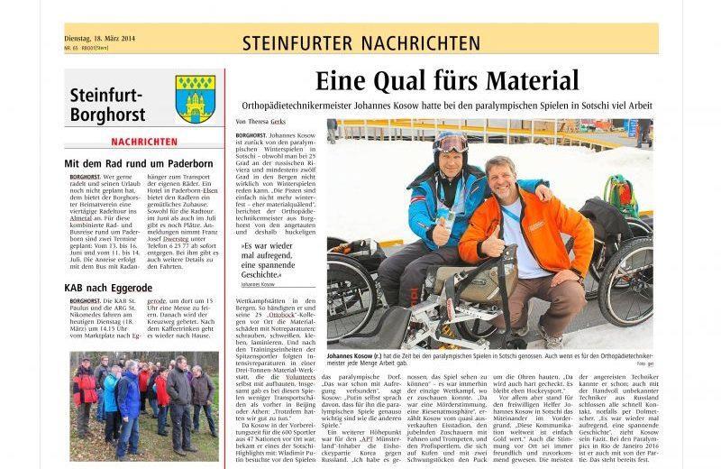 Johannes Kosow in Sochi - Pressebericht aus den Steinfurter Nachrichten